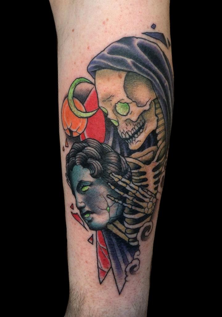 Dark/Horror Girl Head Neo-Traditional Skull Tattoo