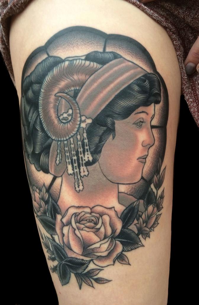 Black & Grey Girl Head Realistic/Realism Tattoo