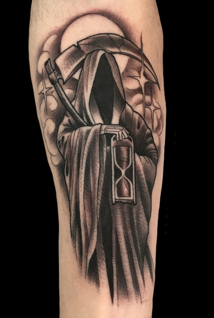 Black & Grey Dark/Horror Tattoo