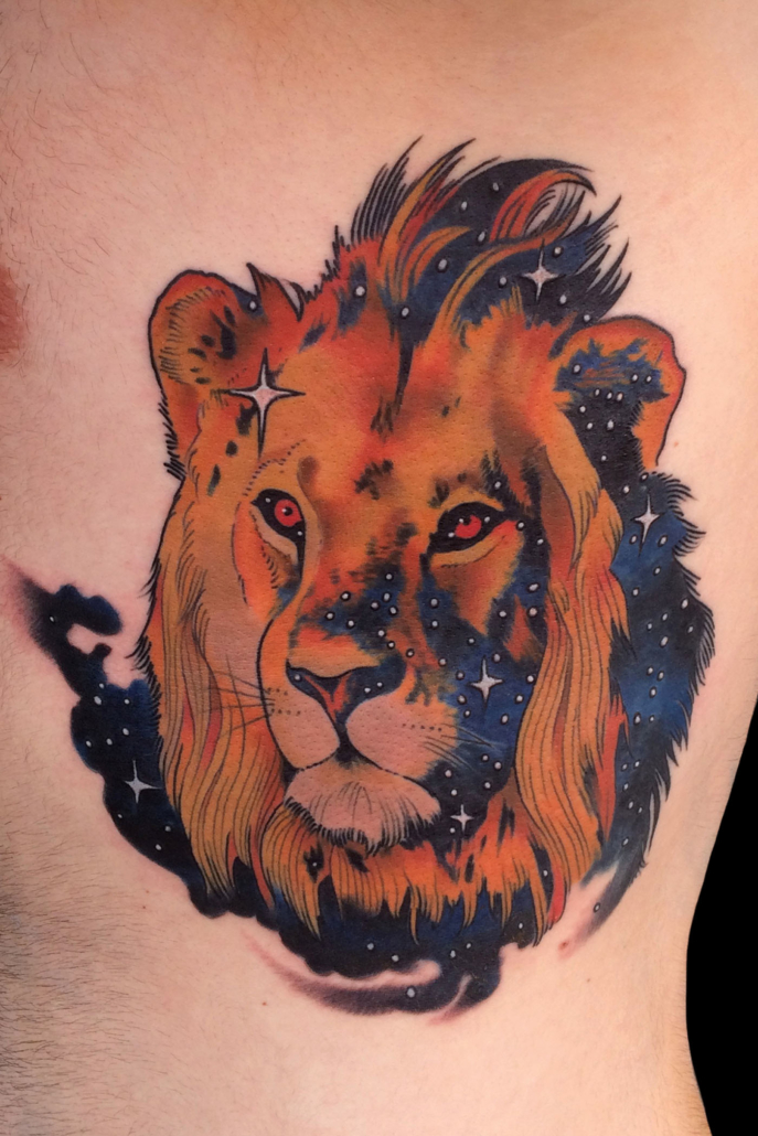 Animals Lion Neo-Traditional Realistic/Realism Ribs/Sternum Space/Alien Tattoo