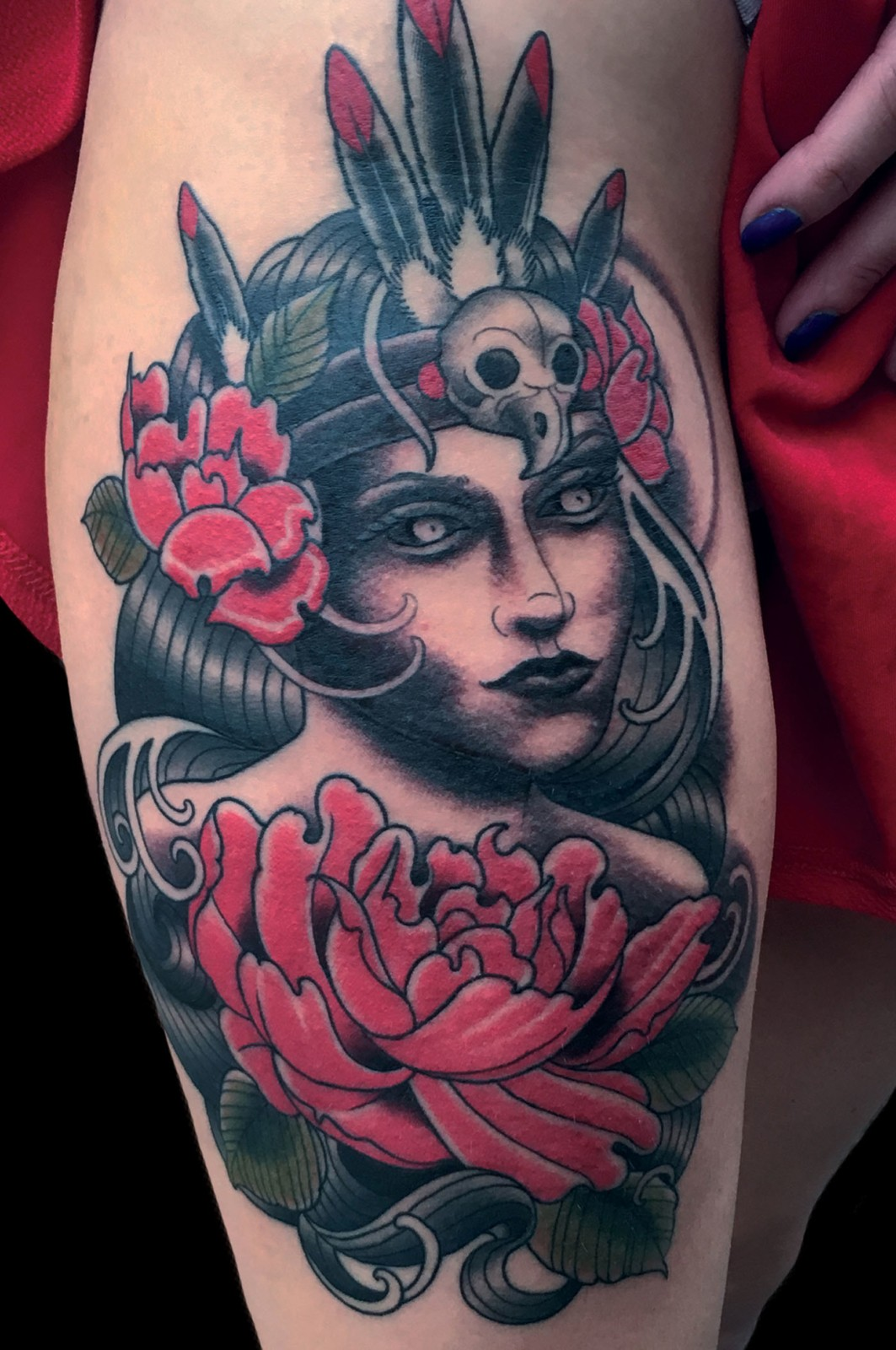 Arm Flowers Girl Head Neo Traditional Tattoo Slave To The Needle