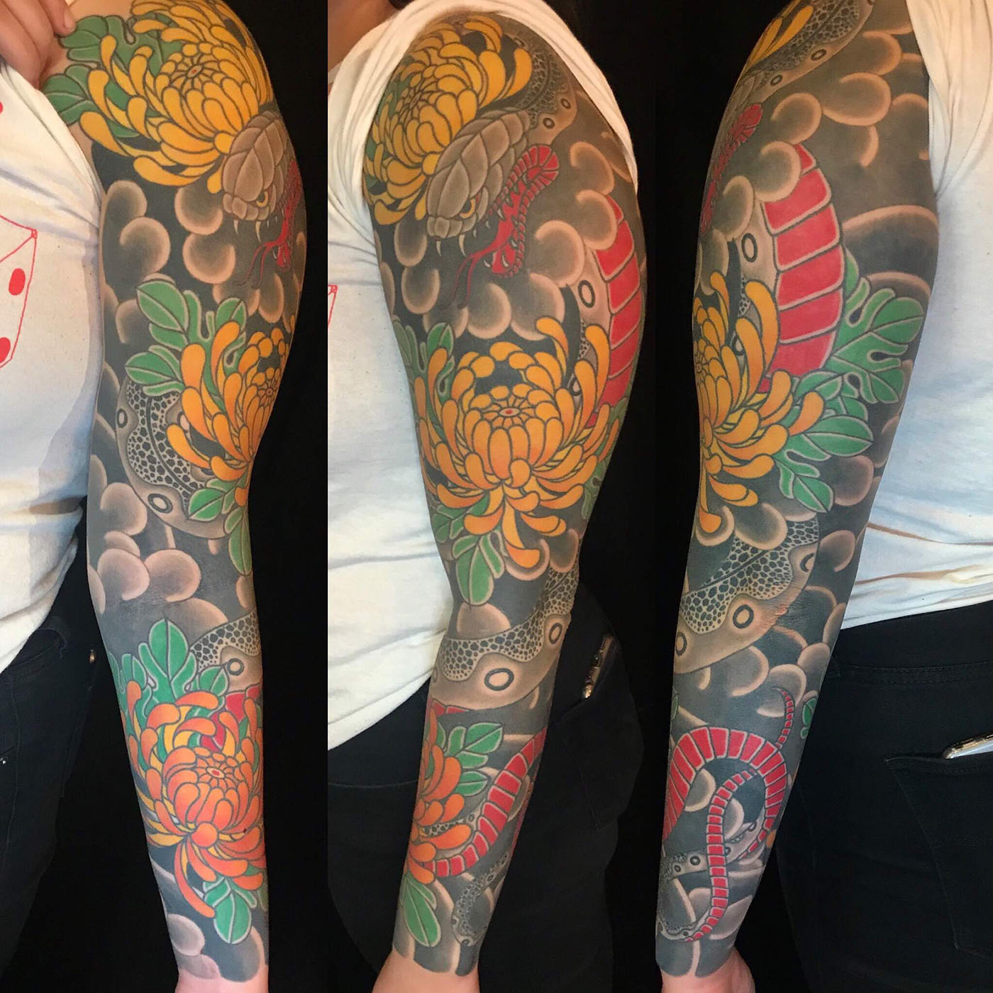 49d4cf6f9183b Arm Flowers Japanese Sleeve snake Tattoo - Slave to the Needle