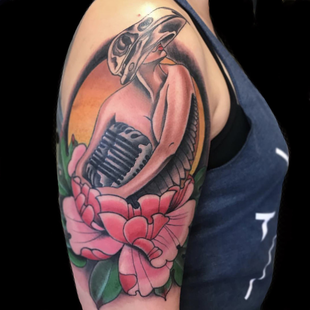 Arm Flowers Girl Head Neo-Traditional Tattoo