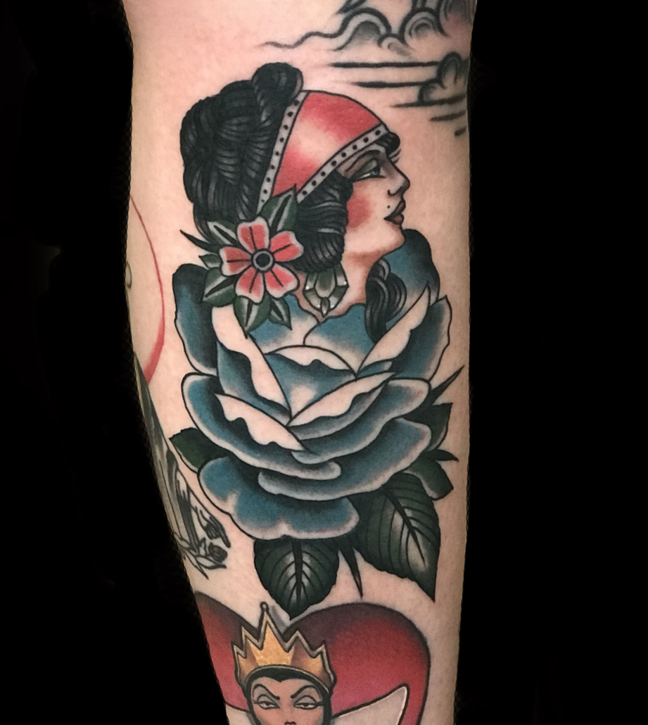 Arm Flowers Girl Head Traditional/Americana Tattoo