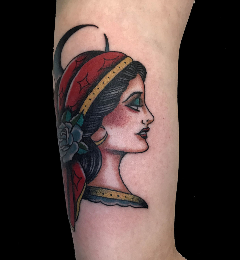 Arm Girl Head Traditional/Americana Tattoo