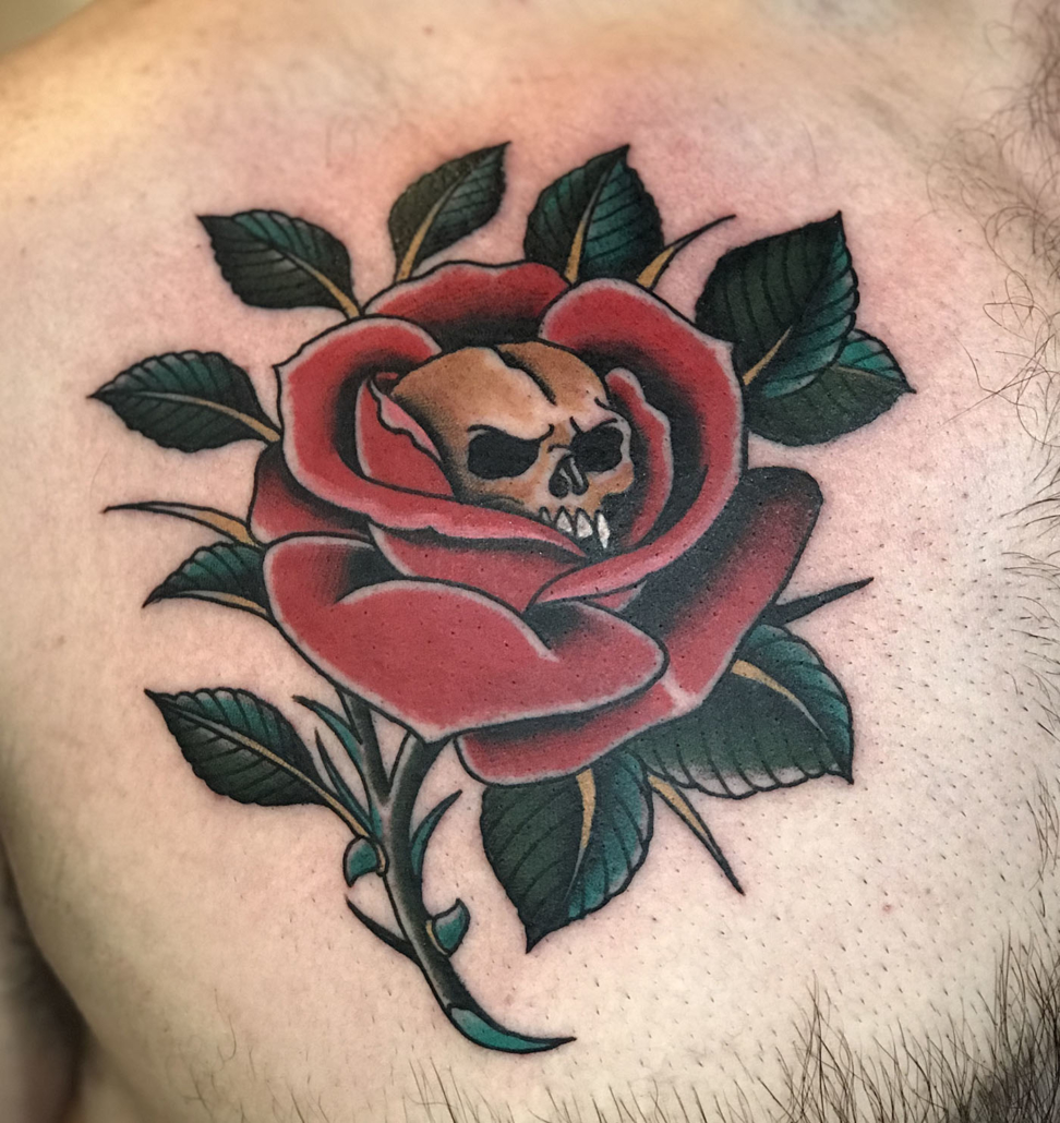 Chest Flowers Skull Traditional/Americana Tattoo
