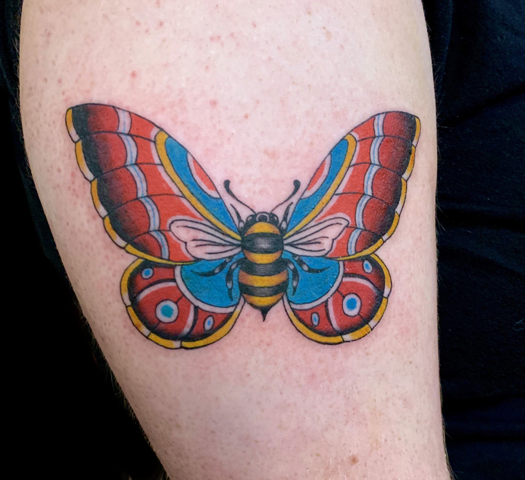 Butterfly Leg Traditional/Americana Tattoo