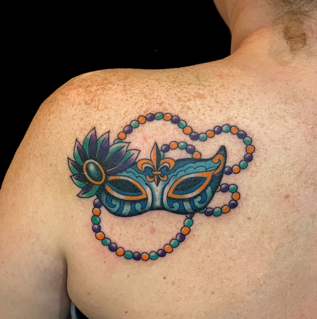 Back Neo-Traditional Shoulder Tattoo