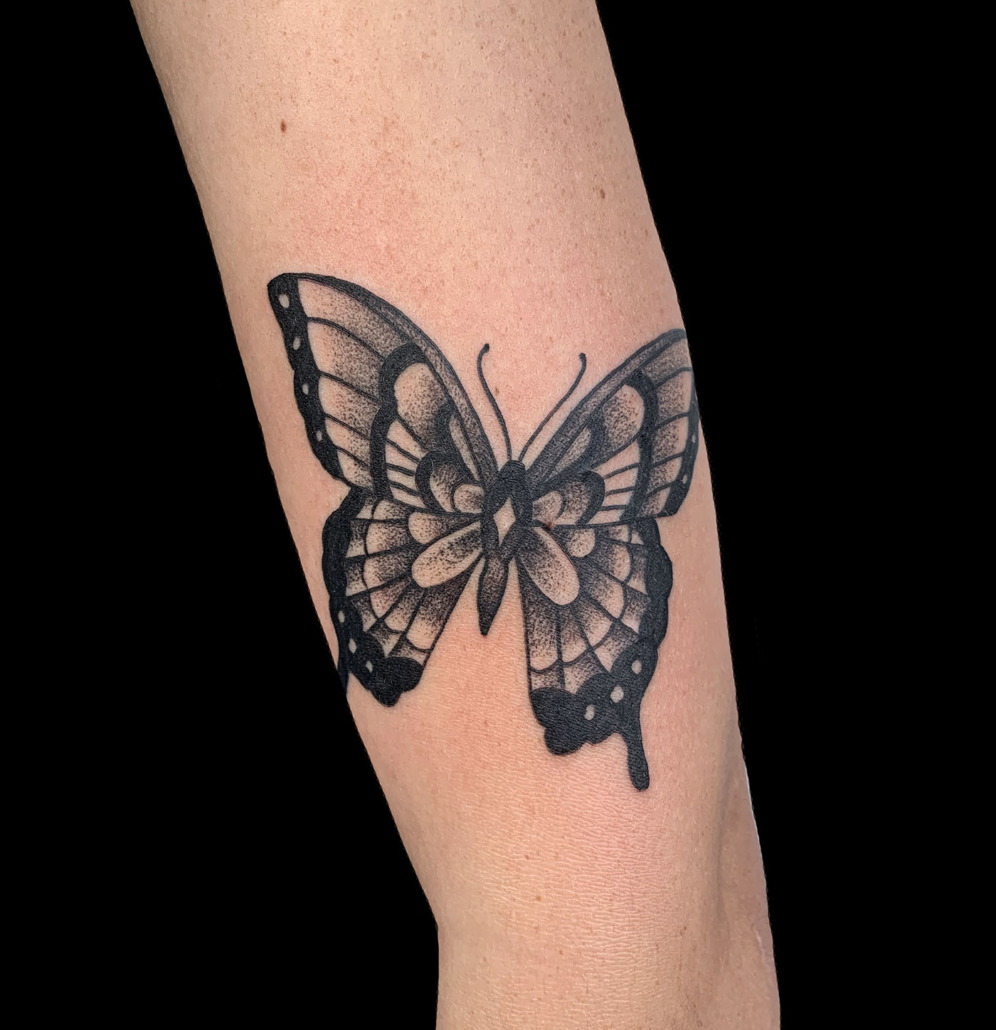 Arm Black & Grey Butterfly Traditional/Americana Tattoo