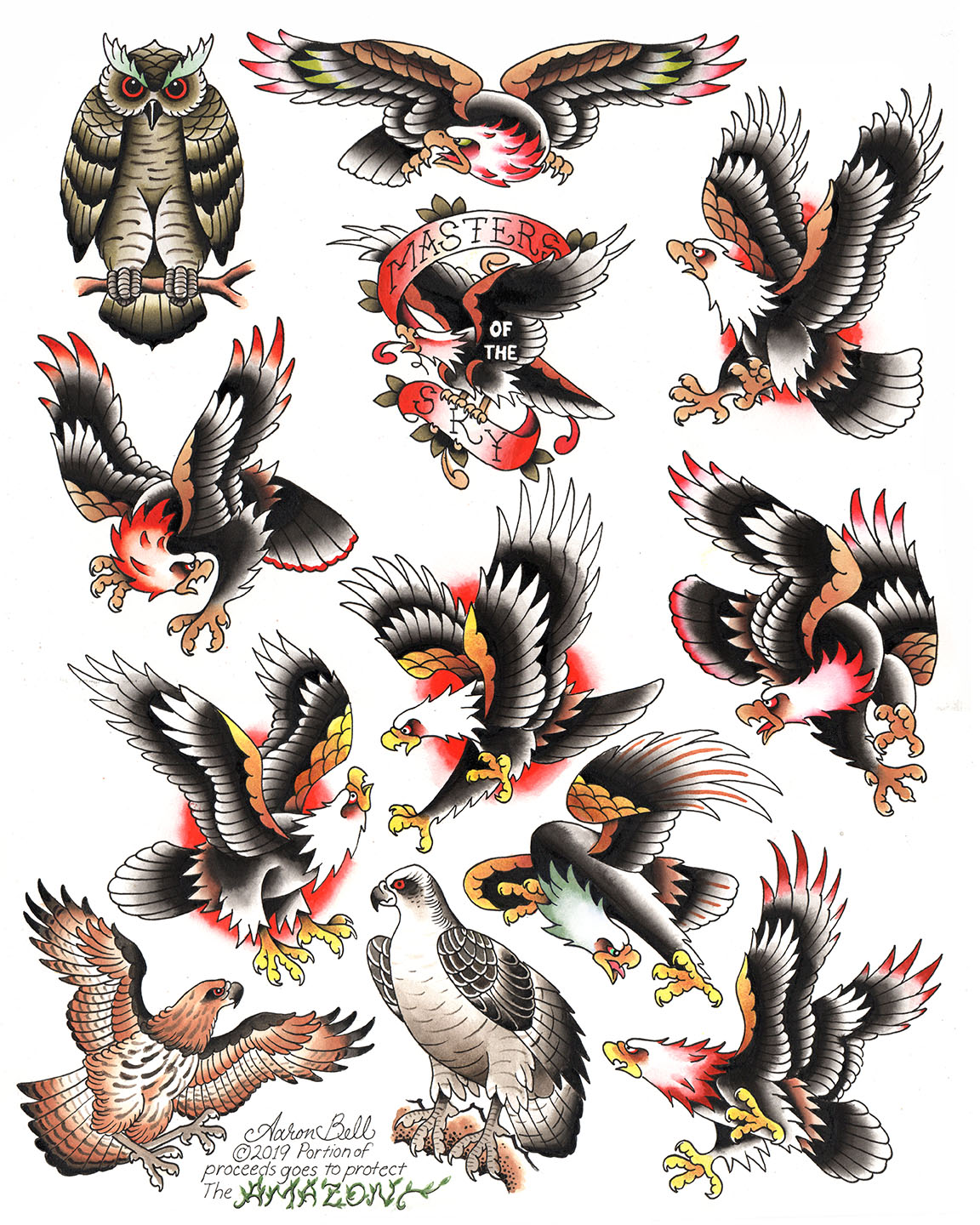 Traditional Eagle Giclee Poster Slave To The Needle