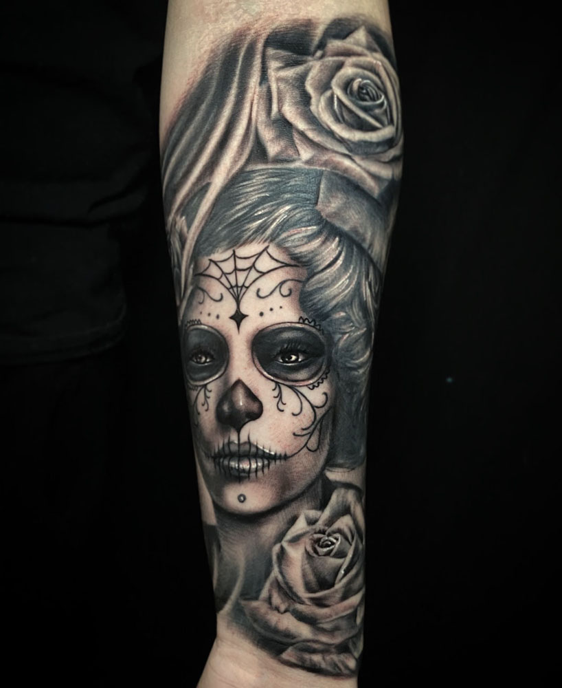 Arm Black & Grey Catrina/Day of the Dead Flowers Girl Head Realistic/Realism Woman Tattoo