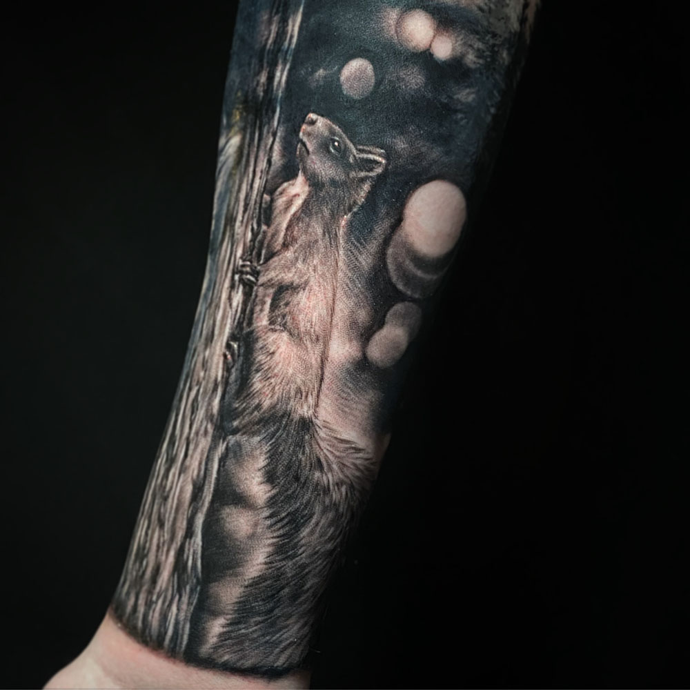 Animals Arm Black & Grey Nature/Landscape Realistic/Realism Tattoo