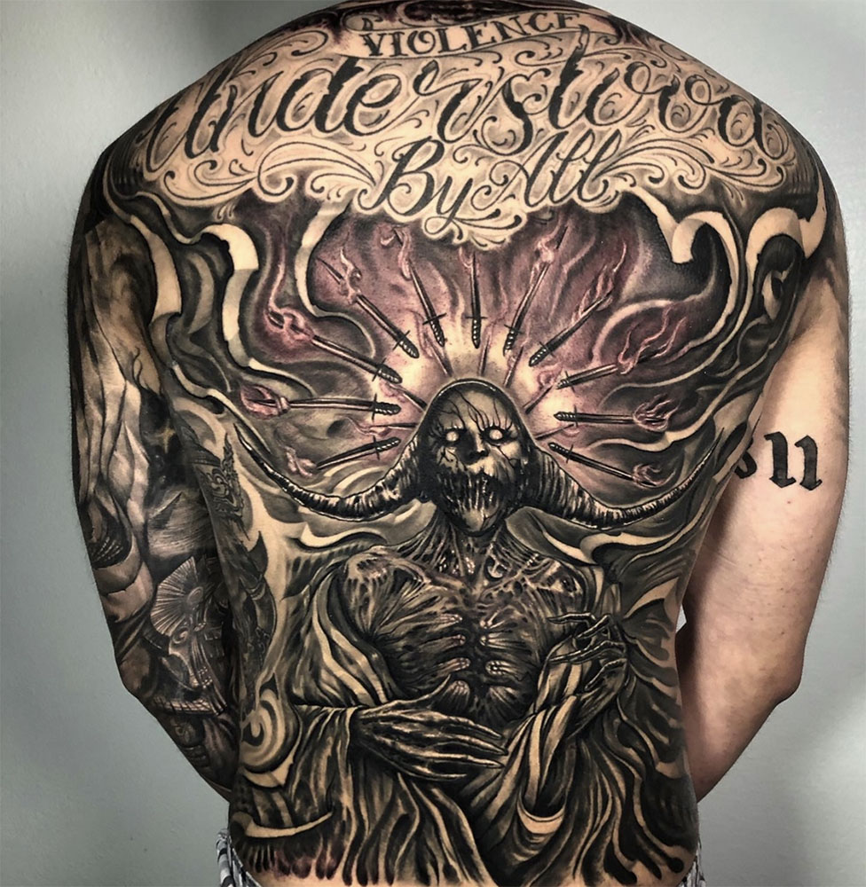 Back Backpiece Black & Grey Dark/Horror Lettering Realistic/Realism Tattoo