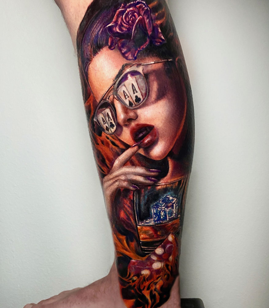 Arm Girl Head Portraits Realistic/Realism Woman Tattoo