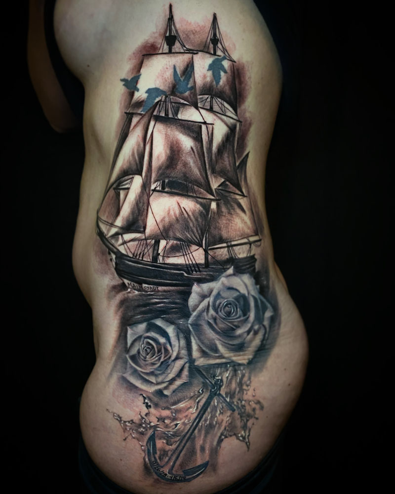 Black & Grey Flowers Nautical Realistic/Realism Ribs/Sternum Tattoo