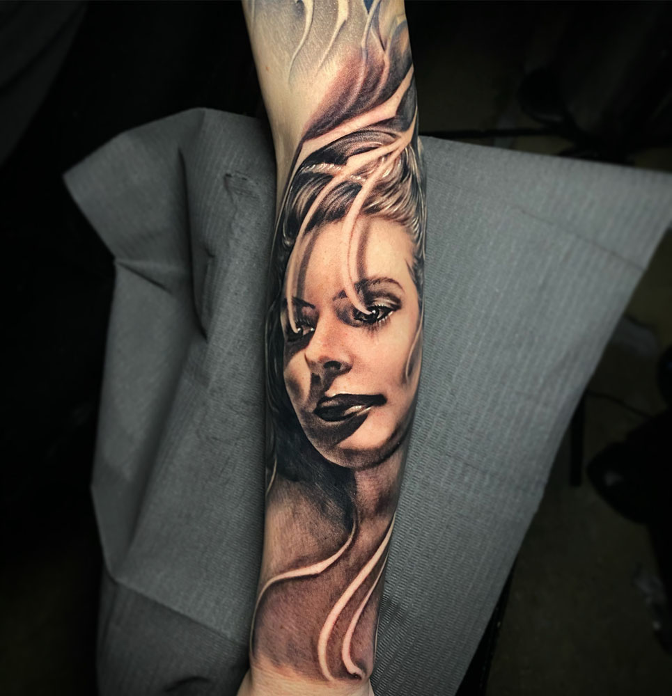 Arm Black & Grey Girl Head Realistic/Realism Tattoo