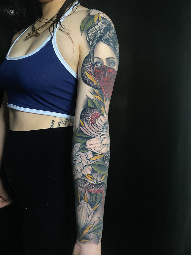 Animals Arm Flowers Geisha Girl Head Neo-Traditional Sleeve snake Woman Tattoo