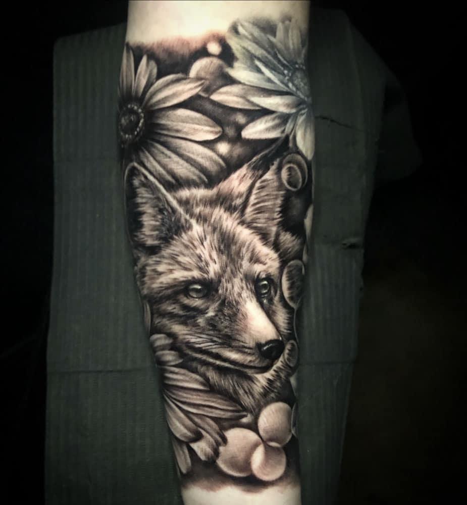 Animals Black & Grey Flowers Nature/Landscape Realistic/Realism Tattoo