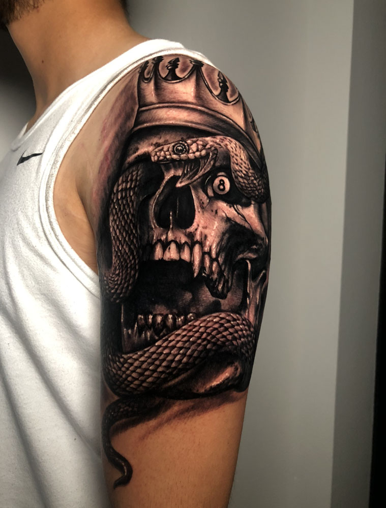 Arm Black & Grey Dark/Horror Realistic/Realism Skull Tattoo